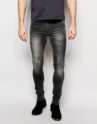 Asos Extreme Super Skinny Jeans In Random Acid Wash In Grey Grey