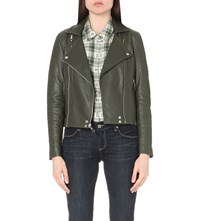 Paige Roanna Leather Biker Jacket Army