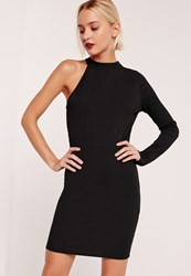 Missguided One Shoulder Ribbed Bodycon Dress Black Black