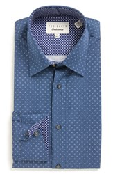 Ted Baker Men's Big And Tall London 'Byrne' Trim Fit Dress Shirt Navy