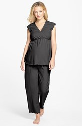 Women's Japanese Weekend Maternity Nursing Crop Pajamas Black