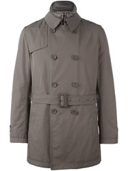 Herno Double Breasted Trench Coat Grey