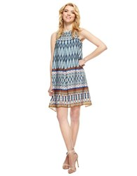 Muse Tribal Patterned Shift Dress Blue Multi