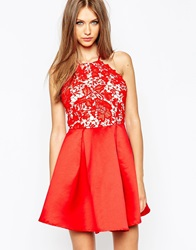 Missguided Lace Halter Neck Skater Dress Red