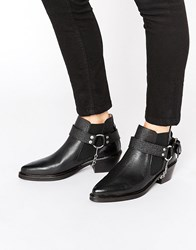 Selected Femme Rock Grained Harness Leather Ankle Boots Black