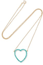 Jennifer Meyer Open Heart 18 Karat Gold Turquoise Necklace Gold Turquoise