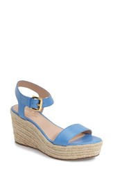 Women's Kate Spade New York 'Tarin' Platform Espadrille Wedge Sandal Alice Blue Tumbled Leather
