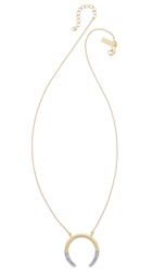Rachel Zoe Sophia Dipped Pave Crescent Necklace Gold Clear