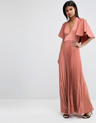 Asos Pleated Ruffle Cape Tiered Maxi Dress Mink Beige