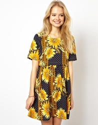 Asos Dress In Sunflower Print With Button Off Waist