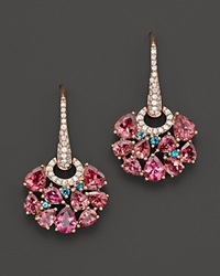 Roberto Coin 18K Rose Gold Fantasia London Blue Topaz And Pink Tourmaline Earrings Rose Blue