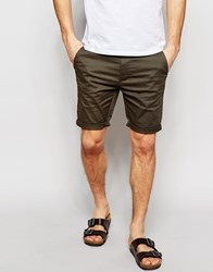 Asos Skinny Chino Shorts In Forest Green Green