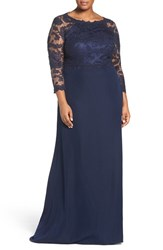 Tadashi Shoji Plus Size Women's Lace Tulle And Crepe A Line Gown