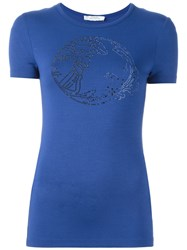 Versace Collection Studded 'Medusa' T Shirt Blue