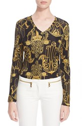 Versace Printed V Neck Tee Black Gold