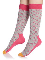 Happy Socks Diamond Socks Grey Pink