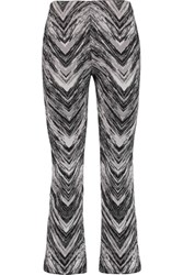 Missoni Cropped Wool Blend Jacquard Straight Leg Pants Gray