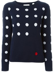 Chinti And Parker Polka Dot Intarsia Sweater Blue