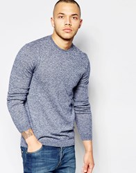 Asos Merino Wool Crew Neck Jumper In Blue Navy And Ivory Twist