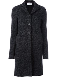 Harris Wharf London Animal Print Coat Grey