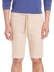 Saks Fifth Avenue Linen Shorts Tan Blue