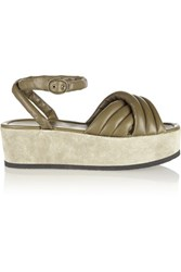 Isabel Marant Rowland Padded Leather And Suede Platform Sandals Army Green