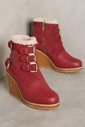 Anthropologie Australia Luxe Collective Monk Wedge Boots Red