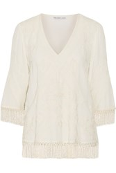 Chelsea Flower Toni Tasseled Crepe Top White