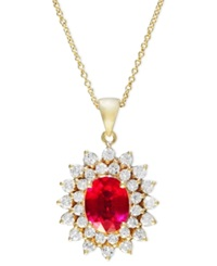 Effy Collection Royalty Inspired By Effy Ruby 1 9 10 Ct. T.W. And Diamond 1 Ct. T.W. Oval Pendant In 14K Gold