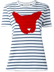 Etre Cecile Dog Print Striped T Shirt Blue