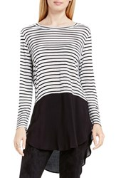 Vince Camuto Women's Two By Mixed Media Crewneck Tunic Grey Heather Stripe