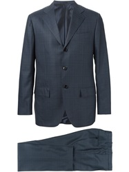 Kiton Checked Two Piece Suit Blue