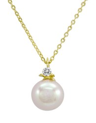 Majorica Sterling Silver And Round Pearl Pendant Necklace Pearl Gold