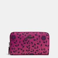 Coach Medium Zip Around Wallet In Willow Floral Coated Canvas Dark Gunmetal Cerise Multi