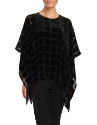Eileen Fisher Plaid Boatneck Poncho Black