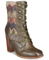Mojo Moxy Dolce By Firebird Lace Up Booties Women's Shoes Army