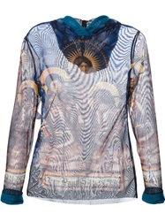 Jean Paul Gaultier Vintage Sheer Vitral Print Top Brown