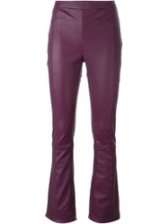 Drome Flared Leather Trousers Pink And Purple