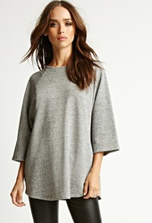 Forever 21 Nytt Heathered French Terry Top Heather Grey