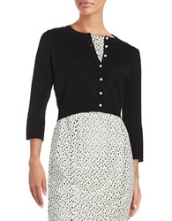 Karl Lagerfeld Lace Accented Cardigan Noir