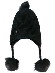 Twin Set Pompom Knit Earflap Beanie Black