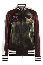 Valentino Satin Bomber Jacket With Butterfly Patches Multicolor