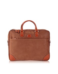 Bric's Life Micro Suede Camel Double Gusset Soft Briefcase