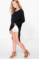 Boohoo Plait Tie Chiffon Tunic Black
