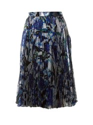 Christopher Kane Rose Print Lame Midi Skirt Blue Multi