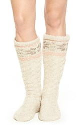 Lemon Women's Snowflake Pattern Slipper Socks With Faux Fur Lining