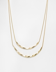 Selected Femme Kelli Curved Bar Two Row Necklace Gold