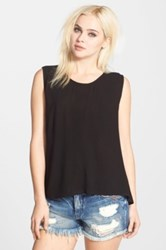 Band Of Gypsies 'Cascade' Asymmetrical Hem Tank Juniors Black