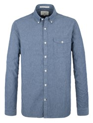 Racing Green Society Chambray Long Sleeve Shirt Blue