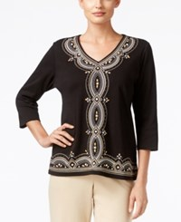 Alfred Dunner Madison Park Collection Beaded Embroidered Top Black